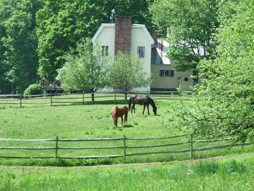 Horse Property, trails abound! Lands End Farm is offered on 39.22 acres with an original 1795 farmhouse with plenty of antique character wedded to a newer addition encompassing an open living room with fireplace & master suite above, also with fireplace. A comfortable 'mud room' invites you into the home from the equestrian's dream facility across the road which includes an indoor arena/stable with 10 stalls & heated tack/viewing area. Arena is 110x60 with rubberized footing and attached carriage shed for storage. There is a separate shop/barn with 5 additional stalls and what is now a play area. All located on gravel roads ideal for riding and driving. Off the beaten path between Woodstock and Ludlow.