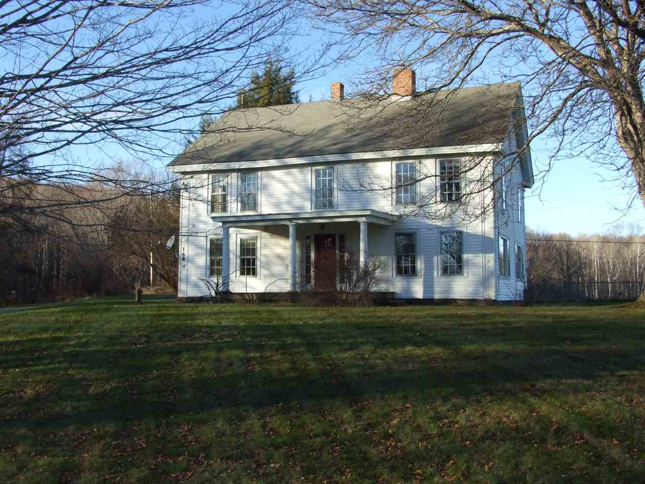 "Lovely old Colonial home with presence on 98 spectacular acres in the heart of West Windsor with pond & views. This home is waiting to be renovated to your liking. The main floor includes a center entry foyer, large living and dining rooms, kitchen and a knotty pine mudroom which exits to a brick patio. Second floor has 2 large bedrooms and 2 smaller bedrooms, bath and laundry. Furnace & hot water heater new in 2008. A detached garage & barn for your Horses or other animals, room for Carriages as well as vehicle and equipment storage. This beautiful property includes hayfields, woods and a network of trails for non motorized recreation which has been carefully maintained and enjoyed as well as, a snow mobile trail.  *A conservation easement is in place with the Upper Valley Land Trust to insure that this treasure is protected for future generations. Property is being sold in ""as is"" condition."