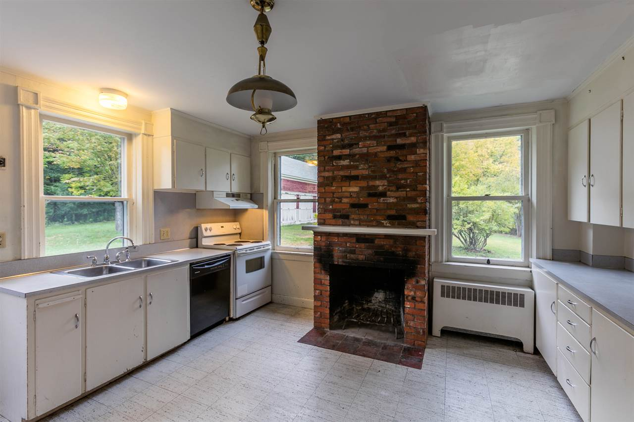 Kitchen with fireplace