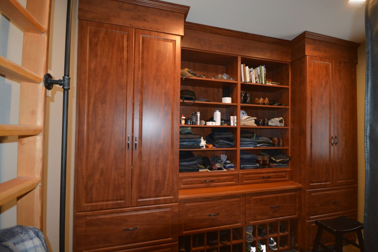 Closet with cherrywood cabinets 11387735