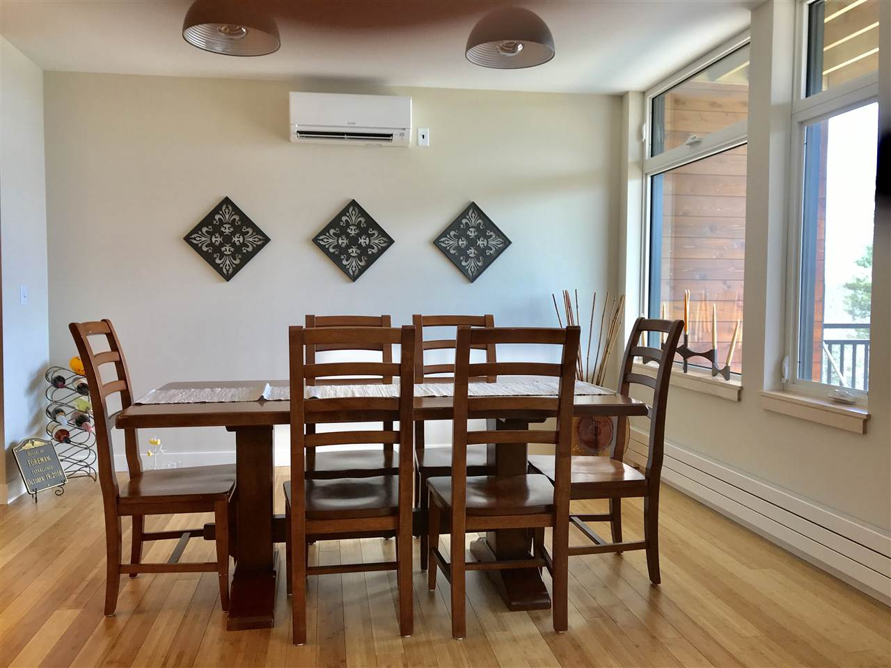 Sunny dining room with western views