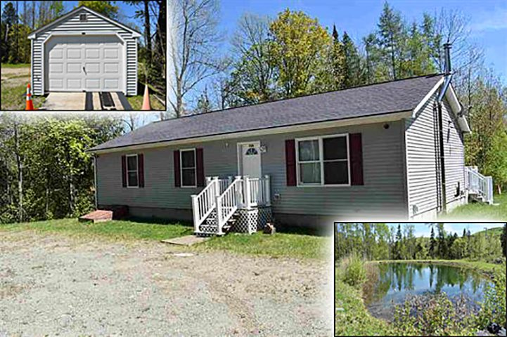 Modular home sits on 37.3 acres in the country. Has lots of room to hunt, including a pond with a lawn area and a brook. Drilled well is 150 feet and 100 GPM. Snowmobile or ATV from property. Close to area lakes. Garage fits 1 car or snowmobiles & ATV. INCLUDES FURNITURE!