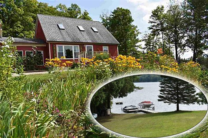 This country cape sits off rt 111 with easy on and off access to town. Walk to your own right of way to Seymour Lake! Light and bright inside with sky lights and cathedral ceilings in cedar make for a large feeling yet warm and cozy. Large kitchen makes preparing food or putting up food a breeze. Lots of cabinets for storage.Private ponds and a potting shed for the large garden area, along with apple trees, blueberries and raspberry's always a yearly harvest.New living room finished with  wood flooring and a cozy wood stove, included. One car insulated garage with insulated 20x30 bonus room above currently used as a work shop. Master bedroom has balcony off side for morning coffee and enjoying the local mountain views. Need to know more? No problem, ready to sell to the first one who can appreciate all the work that has been done.