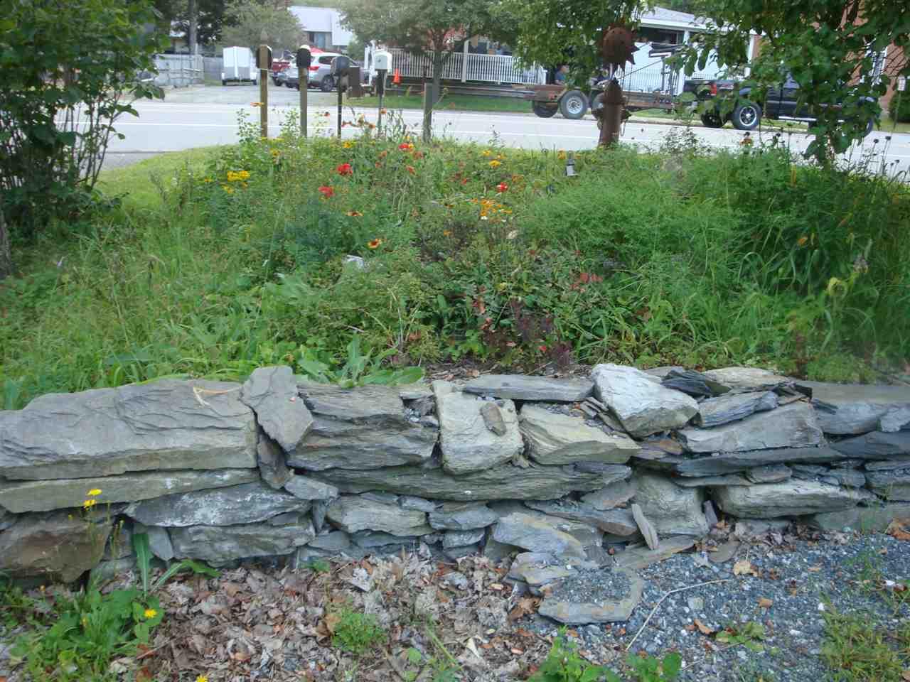 stone wall & flowers