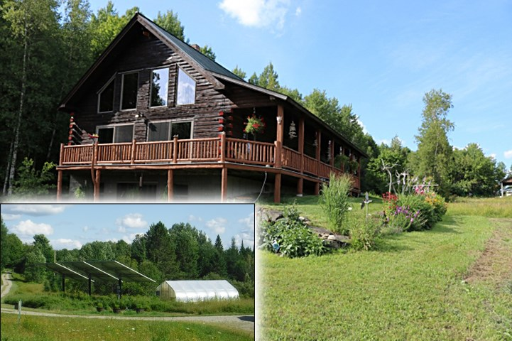 This gorgeous, custom-crafted Adirondack style log home farm & 6 special purpose buildings sit on 48 acres(10+ ac tillable) with spectacular southern long-range mountain views. Very private. Energy consumption in all buildings is met with solar production from the grid-tied solar system totaling 8.3 KW. Generator backup, Austrian pellet boiler w/auto-feed & Buderus oil furnace for radiant heat floors, heat pump for hot water, & Energy Star appliances. Granite counters, standing seam roof, wrap-around porch, full basement with walkout. So much to mention: handcrafted wood stairs & railings, root cellar, & wood-fired oven. Finished apartment above two-car garage with possibilities. Large heated barn, greenhouse 18'x24' with heater & watering system, storage buildings, pasture, mixed 38 acre forest with management plan in place, 400 Balsam trees, lily pond. The opportunities are endless. Check out this rare find!