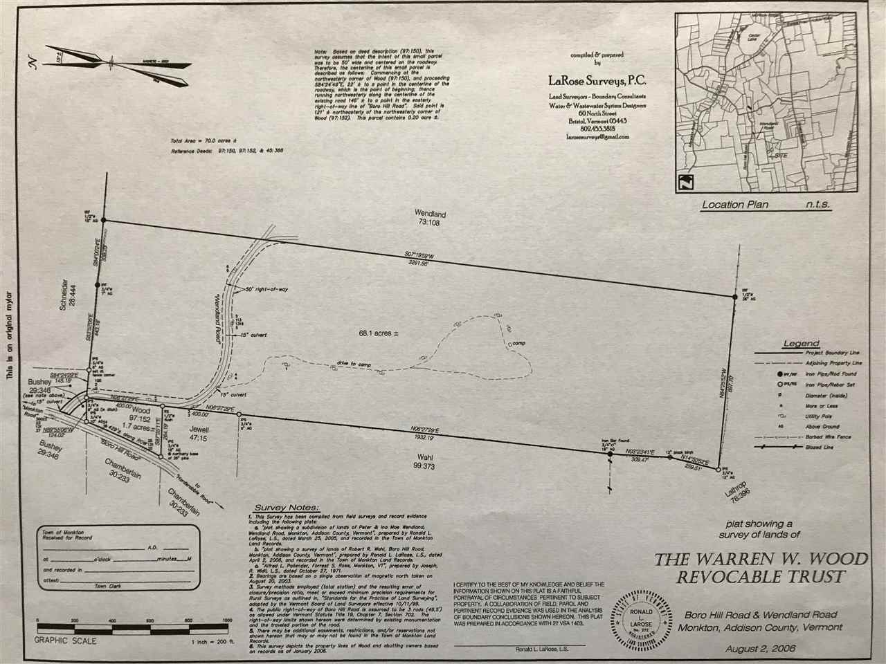 Private wooded lot with potential for western mountain and lake views with clearing.  The land is divided into two separate parcels.  One parcel is 1.7 acres with road frontage along both Boro Hill Rd and Wendland Rd, the other lot is 68.1 acres on Wendland Rd.  The larger parcel has an old road leading into an old camp that previously had electricity.  Great opportunity for recreational land, potentially building your next home and possible subdivision.