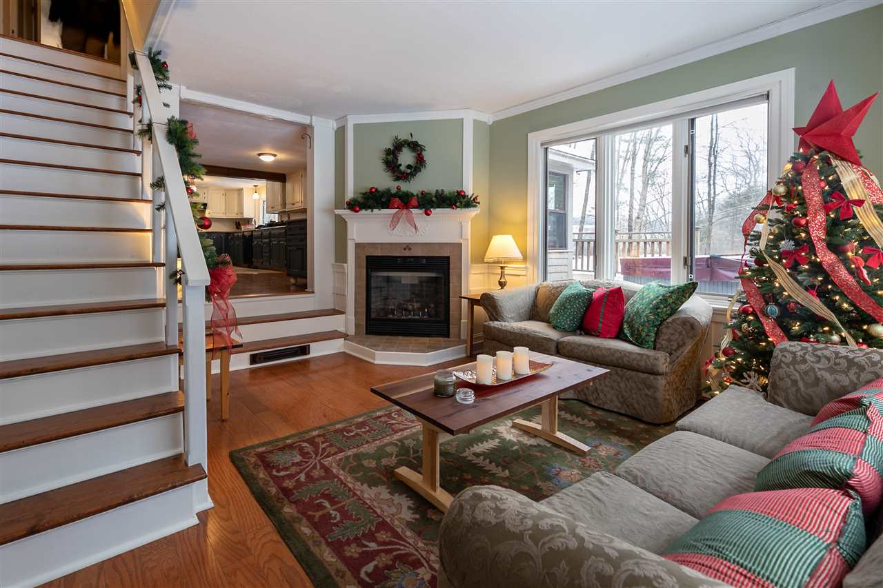 Family room has gas fireplace