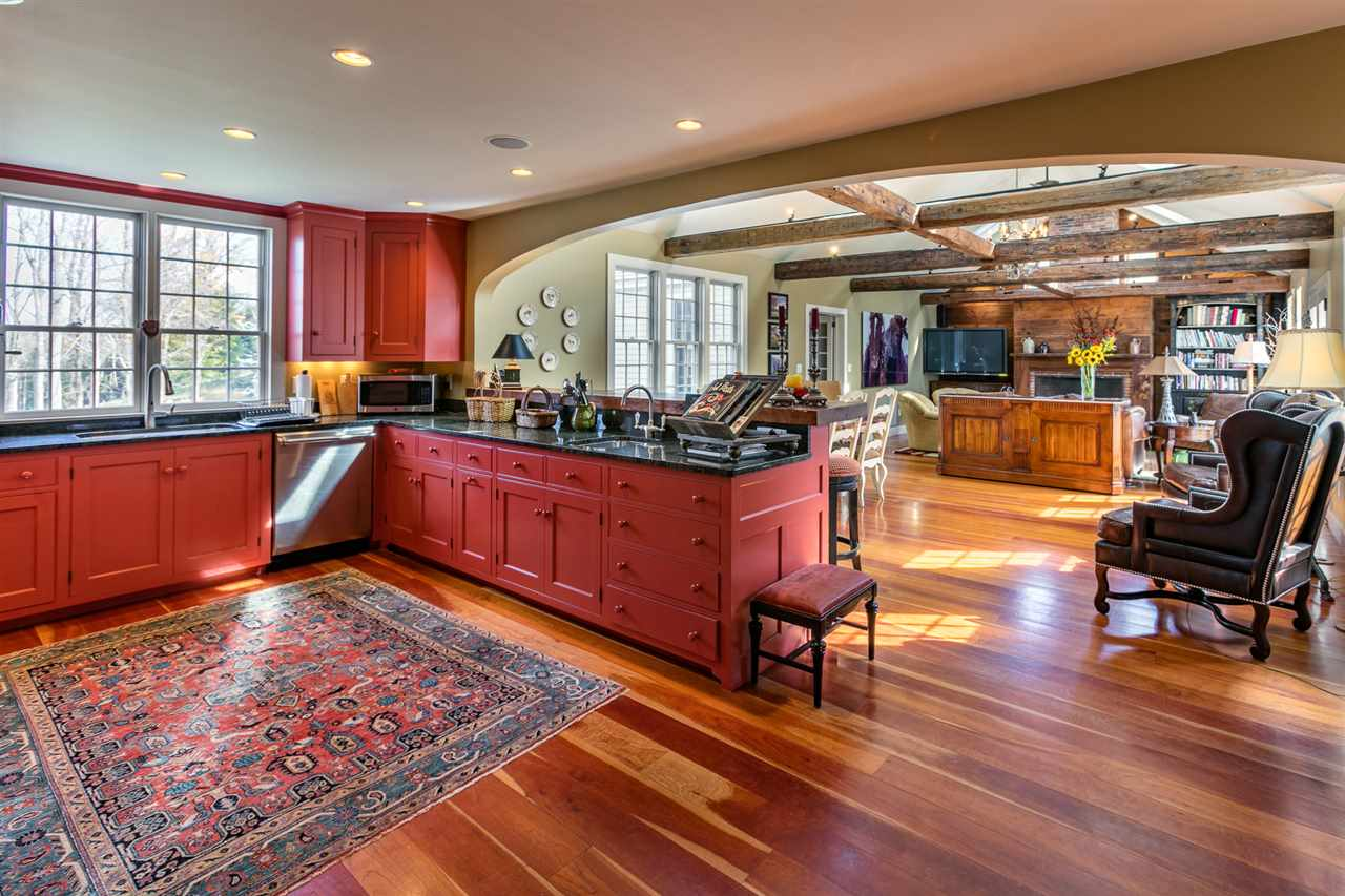 Kitchen with cherry floors