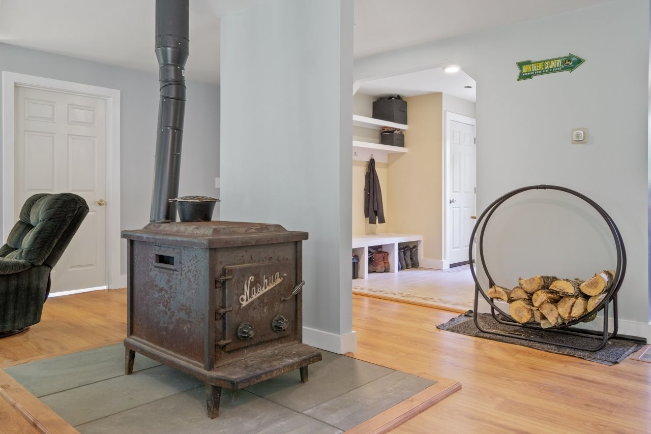 Woodstove located in the central living area
