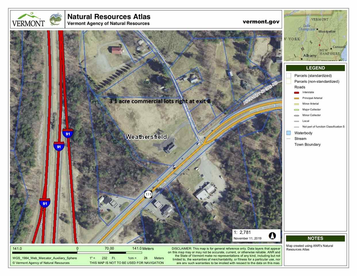 Weathersfield VT 05030Land for sale $List Price is $95,000