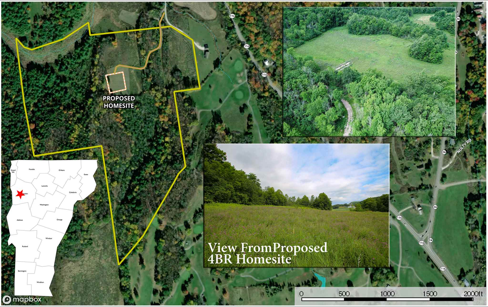 Here's an excellent opportunity to own 38.8 +/- acres with an approved 4-bedroom state wastewater permit in the desirable town of Shelburne, VT! Setback from a privately-maintained 60' right-of-way, the property features an elevated homesite with views of the surrounding terrain including wood lines & a distant working farm. Approximately 5 acres of the land is open fields & 33 acres are private woodland for your personal enjoyment. The land is a part of a larger parcel that was recently subdivided into six lots & buyers will appreciate the seller's attention to detail in crafting covenants for a well-maintained community. Underground utilities are available along Scout Farm Road with the closest transformer box located nearby the property boundary. High-speed internet, Cable TV & telephone services are available through Consolidated. The land will convey with a shared road maintenance agreement well as a 60' ROW easement. Enjoy easy access to Route 116 with Williston, Hinesburg & St. George all within minutes from the property. Shelburne Pond offers recreational activities of fishing, boating & skating just 2 miles away. The Rocky Ridge Golf Course adjoins the land & VAST trail runs along the westerly border of the property. The land will convey subject to an Open Space Agreement with the town of Shelburne keeping the area from over development & rural in nature. One additional lot consisting of 17.9 +/- acres that adjoins this property is available with MLS #4797032.