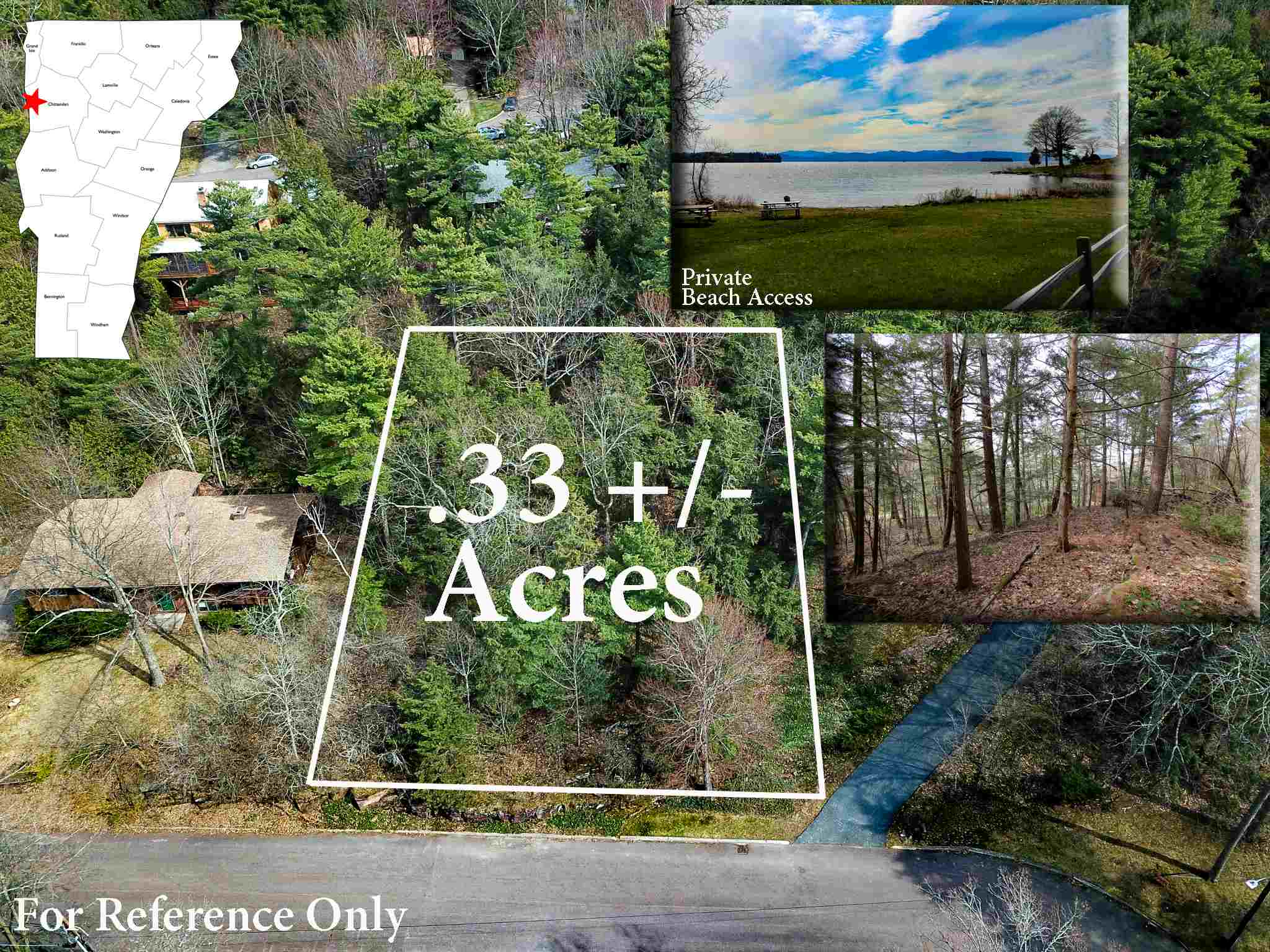 Imagine your dream home set on a .33 +/- acre lot within walking distance to the shores of Lake Champlain in the coveted south end neighborhood of Burlington, VT! One of the last remaining building lots in the beautiful South Cove Association residential area, the wooded lot offers a peaceful location with potential for a home site with public water and sewer hookup available. With an annual HOA fee of only $140, you'll enjoy access to the privately-maintained HOA beach and picnic area with gorgeous views of the Adirondacks & mooring rights! Seemingly endless summer recreational opportunities are in the surrounding area with the parcel situated between Red Rocks and Oakledge Park, both only a short walk or drive away! There are two utility poles located nearby the lot serviced by Burlington Electric Department. The land enjoys approximately 100' of road frontage along the paved, town maintained and plowed, South Cove Road. High-speed internet, TV, and phone are available to neighboring homes along South Cove Road through Comcast. Located in the South End of Burlington, all city employment, entertainment, and amenities are conveniently within minutes from the property, including the city bus line that offers an easy commute into Burlington downtown and many other nearby employment hubs. City Market and the south end shopping plazas are within 5 minutes away, and the I-189 beltway is only 2 miles away offering easy access to I-89. Come see all that this lot has to offer!