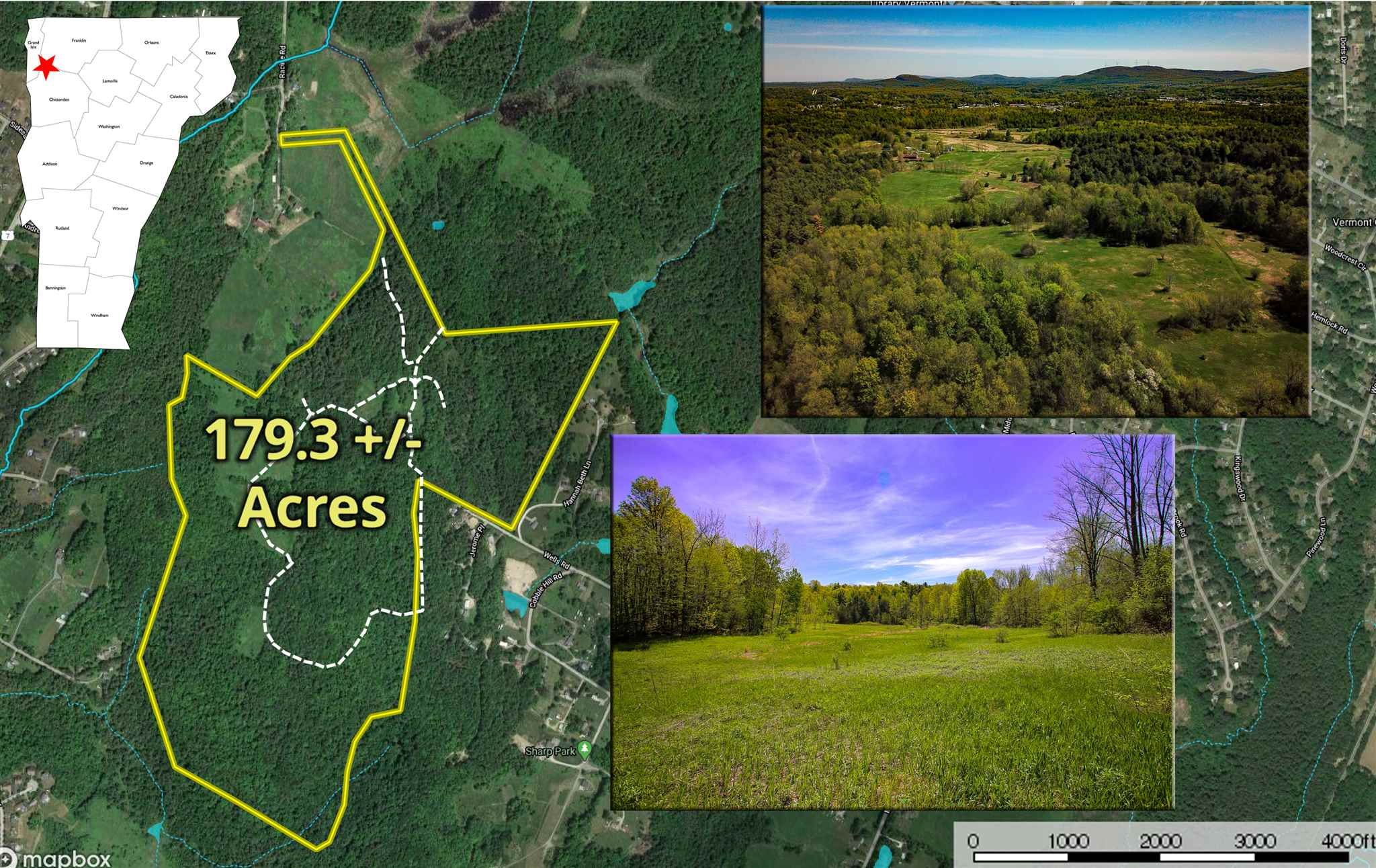 With 11 +/- acres of open land and an excellent interconnected trail system, this 179.3 +/- acre property offers a rare opportunity to develop your dream equestrian estate or hunting preserve in the town of Milton, VT! Setback from a 61' wide, owned access, the expansive property features a gently rolling topography with the potential for gorgeous easterly views overlooking a mountainous backdrop with selective clearing. Per conversations with the town zoning officials, the property is ideally suited for a 3-lot subdivision, with each lot enjoying plenty of excess acreage for private recreational possibilities. No soil tests have been completed at this time. Wastewater per state regulations. Conveniently just minutes to Route 7 and I-89, the property offers a sense of country seclusion with easy access to all greater Chittenden County amenities, employment, and entertainment opportunities. Utility poles run along the paved, town-maintained and plowed, Racine Road, and will need to be extended a potential home site, if one is identified per state wastewater regulations. Comcast offers high-speed internet, TV, and telephone services to homes along Racine Road. The entirety of the property is enrolled in the State's Current Use program, which offers substantially reduced taxes with good stewardship of the land. If purchasers wish to remove a 2-acre homestead site from the program, this is possible by working with a forester. Only 20 minutes to Burlington!