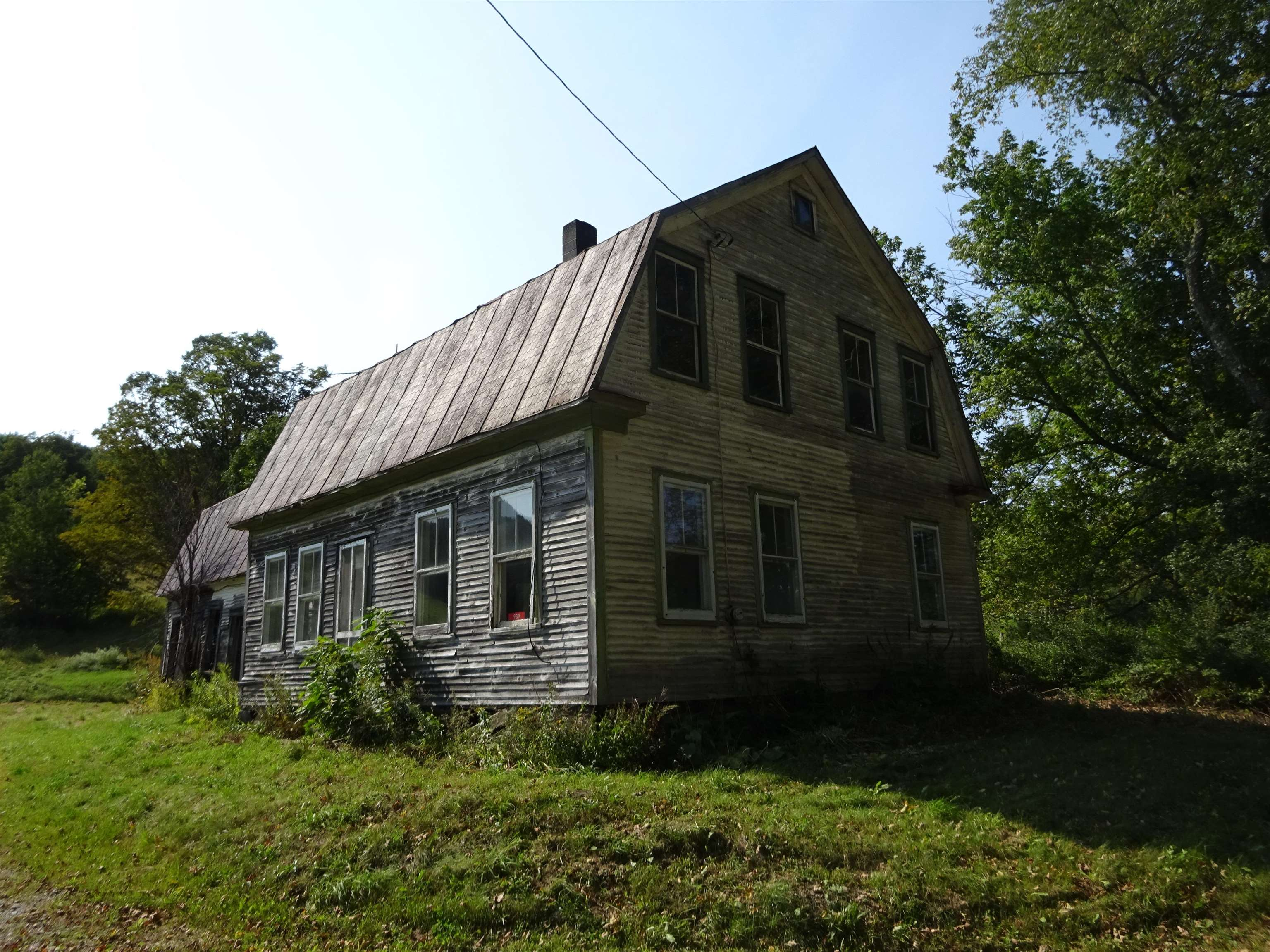 First time offered in 200+ years.  The Allen Farm consists of a 1800's home in need of complete renovation.  A large pole barn.  About 2 flat open acres around the home and barn, large field/pasture sloping uphill to beautiful  well managed sugar bush complete with trails.  Well located for gravity feed.  Very little brush or undergrowth.  Fiber opti internet avail at street. 800 mbps. The rehab project would be major.   Great location for horses.  Close to  the Green Mountain Horse Association.  Area popular for all outdoor activities.  Biking,  snowmobiling.   Close to skiing at Okemo , Killington and others.  Close to Upper Valley attractions.  Excellent access to great medical care.   Potential buyers should be pre approved or have funds that will allow purchase & rehab.